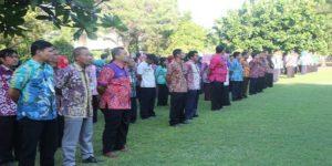 ASN di lingkungan Setda Rembang ikut apel pagi, belum lama ini.