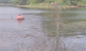 Pencarian korban tenggelam di Embung Sudo, Sabtu sore (12/05).
