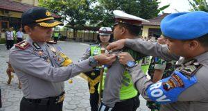 Apel pasukan Giat Operasi Patuh Candi di halaman Mapolres Rembang, Kamis pagi (26/04).