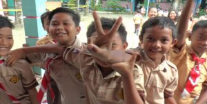 Siswa sebuah SD N di Kabupaten Rembang.
