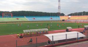 Suasana pertandingan tanpa penonton antara PSIR Rembang vs Cilegon United di Stadion Gelora Delta Sidoarjo, Selasa sore (15/05).