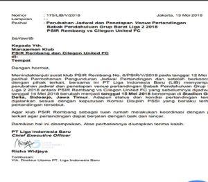 Surat dari PT. Liga Indonesia Baru (LIB), mengenai lokasi dan jadwal pertandingan usiran melawan Cilegon United.