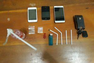 Barang bukti Narkoba dan alat hisap. (gambar atas) 4 tersangka pelaku yang diamankan.