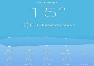 Di Desa Sumberejo, Rembang terpantau suhu udaranya 15 derajat celsius, Selasa dini hari.