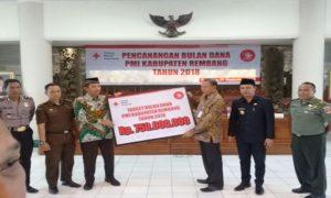 Pencanangan Bulan Dana PMI di lantai IV Sekretariat Daerah (Setda) Rembang, Kami pagi.