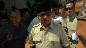 Prabowo Subianto saat berada di Sarang, Rembang, Sabtu (29/09).