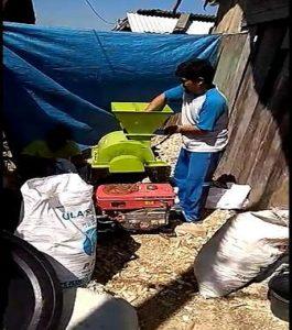 Proses penggilingan janggel jagung menjadi bahan pakan ternak di Desa Suntri, Kecamatan Gunem.