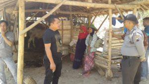 Anggota Polsek Sluke mengecek TKP pencurian sapi, di Desa Blimbing Kecamatan Sluke, Kamis (13/09).