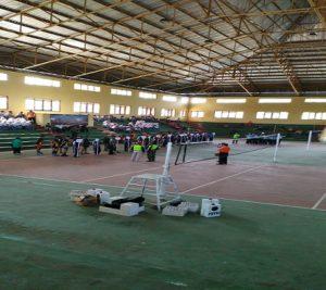 "Suasana pembukaan turnamen bola volly ""Bupati Cup I"" di GOR Rembang, Selasa (02/10)."