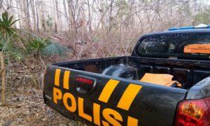 Lokasi temuan korban di hutan Desa Lodan Kulon, Kecamatan Sarang, Rabu sore.
