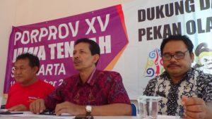 Pengurus KONI Kabupaten Rembang menyampaikan jumpa pers seputar target di ajang Porprov Jawa Tengah, Kamis (18/10).
