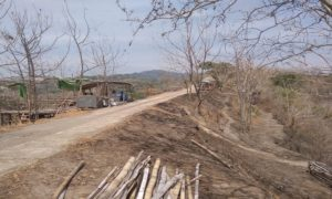 Obyek wisata Watu Congol Lasem yang gersang.