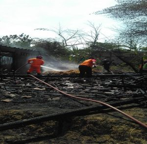 Kebakaran di Dusun Loji, Desa Kedungrejo, Rembang, Minggu siang.