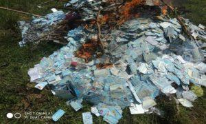 Pemusnahan KTP elektronik yang sudah tidak terpakai di Kabupaten Rembang, Selasa pagi (18/12).