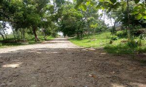 Akses jalan masuk sisi utara menuju GOR Mbesi Rembang kondisinya rusak parah. (Gambar atas) GOR tampak dari depan.