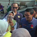 Kampanye Calon Wakil Presiden, Sandiaga Uno ketika berada di Pasar Rembang, belum lama ini.