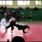 Cabang olahraga pencak silat Popda tingkat SMA sederajat, berlangsung di GOR Rembang, baru – baru ini.