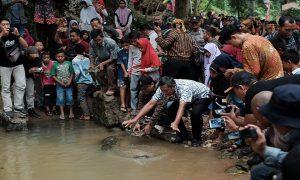 Kuswandi, dari pihak pabrik Semen Gresik melepas bulus di Sendang Brubulan. (Gambar atas) Ramainya Sendang Brubulan, Jum'at (22/03).