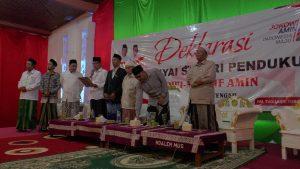 Suasana deklarasi kiai se Jateng dan Jatim, mendukung pasangan Jokowi & Ma'ruf Amin, Minggu sore (03/03).