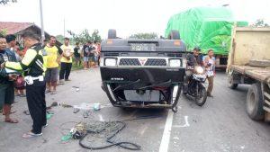 Kondisi kecelakaan yang menimpa L 300 di jalur Pantura Desa Dresi Kulon, Kecamatan Kaliori, Minggu sore (17/03).
