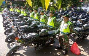Aparat gabungan TNI/Polridi Kabupaten Rembang, siaga untuk mengamankan kampanye Pemilu 2019.
