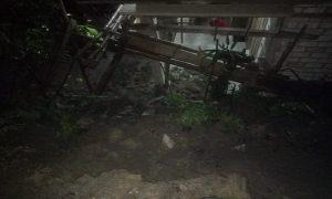 Tanah longsor menerjang sebuah rumah di Desa Kajar, Kecamatan Lasem, Kamis malam.