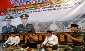 Bupati Rembang bersama Kapolres dan Komandan Kodim buka bersama, usai konsolidasi dengan para tokoh di pendopo Museum Kartini, Jum'at (17/05).