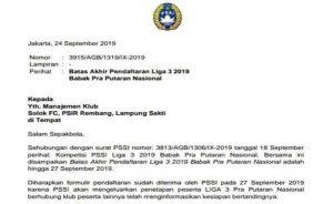 Surat pemberitahuan dari PSSI, tentang batas terakhir pendaftaran tim Liga 3.