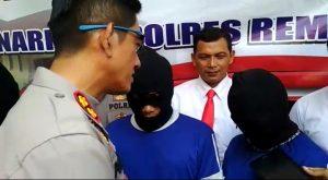 Kapolres Rembang, AKBP Pungky Bhuana Santosa meminta keterangan pasangan calon pengantin yang tersangkut kasus sabu-sabu, Selasa (17/09).