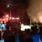 Kebakaran gudang rosok di Desa Tuyuhan, Kecamatan Pancur.