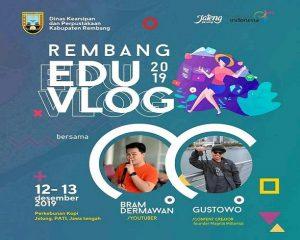 Promo Edu Vlog yang diadakan Dinas Kearsipan Dan Perpustakaan Kab. Rembang. (Foto atas) Bupati Mengajar berlangsung di SMA N I Sumber, Jum'at (13/12).