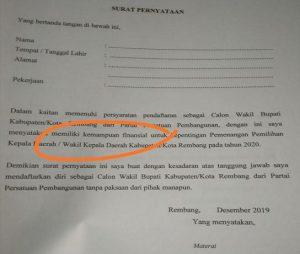Bakal calon Wakil Bupati yang ingin mendaftar melalui PPP Kab. Rembang harus melampirkan surat pernyataan kemampuan finansial/keuangan.