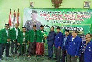 Pengurus Partai Nasdem Kab. Rembang mengambil formulir pendaftaran bakal calon Wakil Bupati di kantor DPC PPP, Jum'at (27/12).