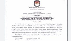 Pengumuman hasil penelitian administrasi calon anggota panitia pemilihan kecamatan (PPK).