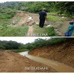 Saat bencana tanggul irigasi longsor dan sesudah penanganan, di sekitar Waduk Panohan, Kecamatan Gunem.