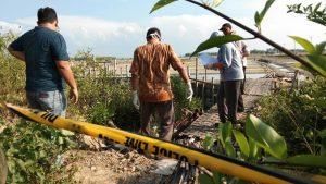 Suasana TKP temuan korban di area sekitar tambak Desa Bogoharjo Kecamatan Kaliori, Selasa sore (17/03).
