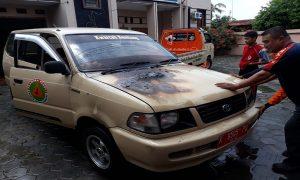 Mobil Pramuka Kwarcab Rembang terbakar, Sabtu siang (07/03).
