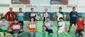 PWI Rembang dan komunitas anak motor mengkampanyekan waspada corona, saat jeda olahraga, Jum'at pagi (20/03).