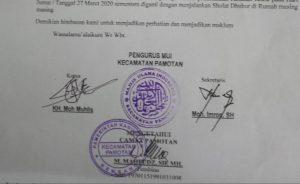 Surat himbauan dari MUI Pamotan. (Foto atas) Bupati Rembang, Abdul Hafidz, hari Jum'at (27/03) berkoordinasi dengan Forkopimda, terkait perkembangan kasus corona.