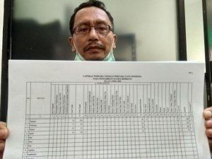 Panitera muda hukum PA Rembang, Munawir menunjukkan data perkara perceraian, Jum'at (22/05). (Foto atas) Suasana ruang pelayanan di kantor Pengadilan Agama Kabupaten Rembang.
