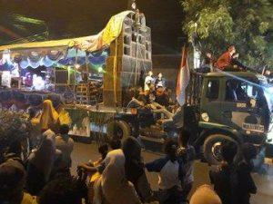 Takbir keliling di Rembang, sebelum masa pandemi Covid-19 biasanya menggunakan truk-truk trailer (twitter).