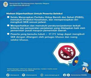 Himbauan untuk peserta seleksi CPNS, menjelang tahapan tes Seleksi Kompetensi Bidang (SKB).