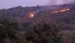 Kebakaran di Gunung Bugel Desa Warugunung, Kecamatan Pancur, Minggu petang (27/07).