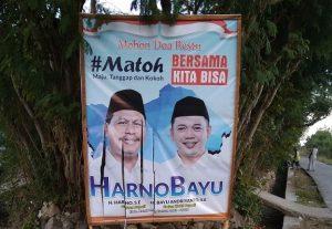 Aribut Harno – Bayu dirusak. (Foto atas) Atribut Hafidz – Hanies juga menjadi sasaran pengrusakan.