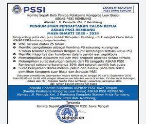Kriteria syarat pendaftaran Ketua Askab PSSI, dalam kongres luar biasa. Andi Kurniawan (tengah), anggota DPRD dari Partai Nasdem mendaftar sebagai bakal calon Ketua Askab PSSI Rembang, Jum'at (11 September 2020).