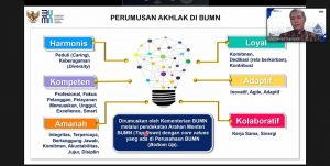 Zoom meeting soal penerapan Akhlak. (Foto atas) Aktivitas pekerja di PT. Semen Gresik Pabrik Rembang.