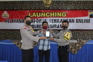 Launching laporan kehilangan online di Mapolres Rembang.