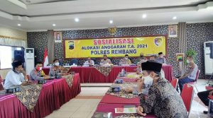 Pihak Polres Rembang menggelar sosialisasi anggaran, Kamis sore (12/11).