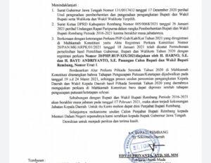 Surat permohonan pengisian Penjabat Bupati Rembang. (Foto atas) Rapat paripurna di gedung DPRD Rembang, Senin (01/02).