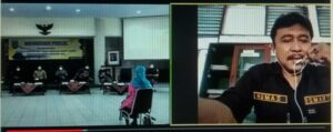 Humas KPH Mantingan, Ismartoyo menyampaikan status Waduk Panohan dalam forum RPJMD melalui zoom meeting.